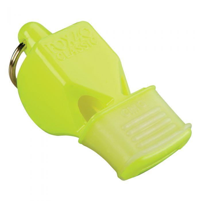 Sifflet Fox 40 Classic jaune néon avec embout en caoutchouc