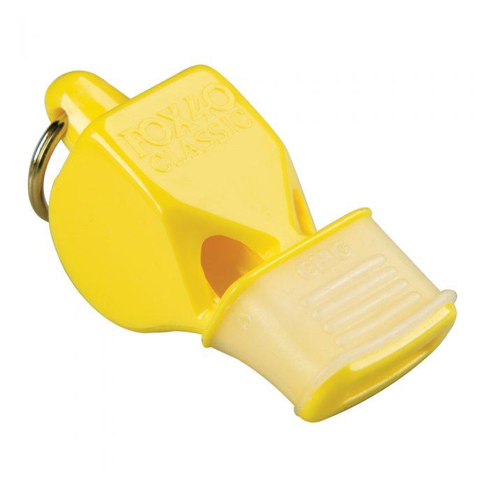 Sifflet Fox 40 Classic jaune avec embout en caoutchouc