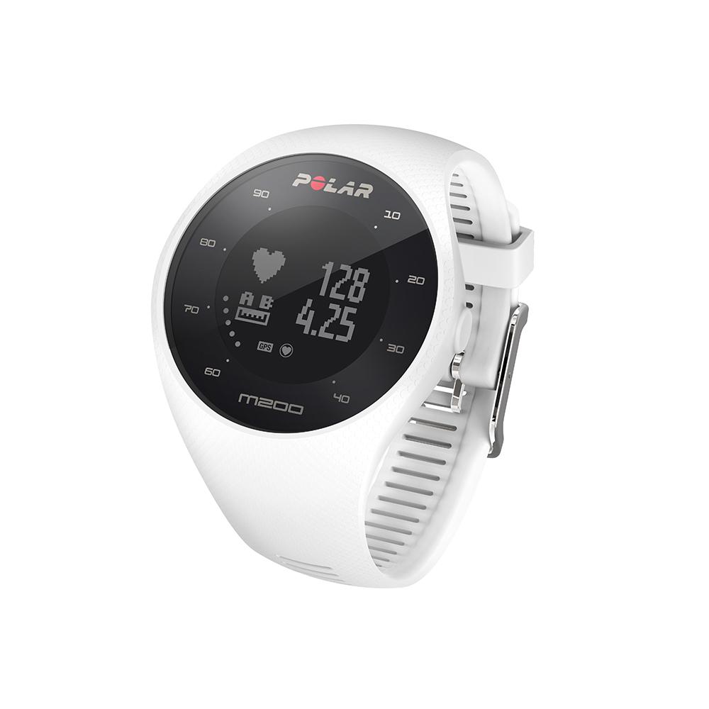 Montre GPS de course à pied avec mesure du rythme cardiaque Polar M200 blanc