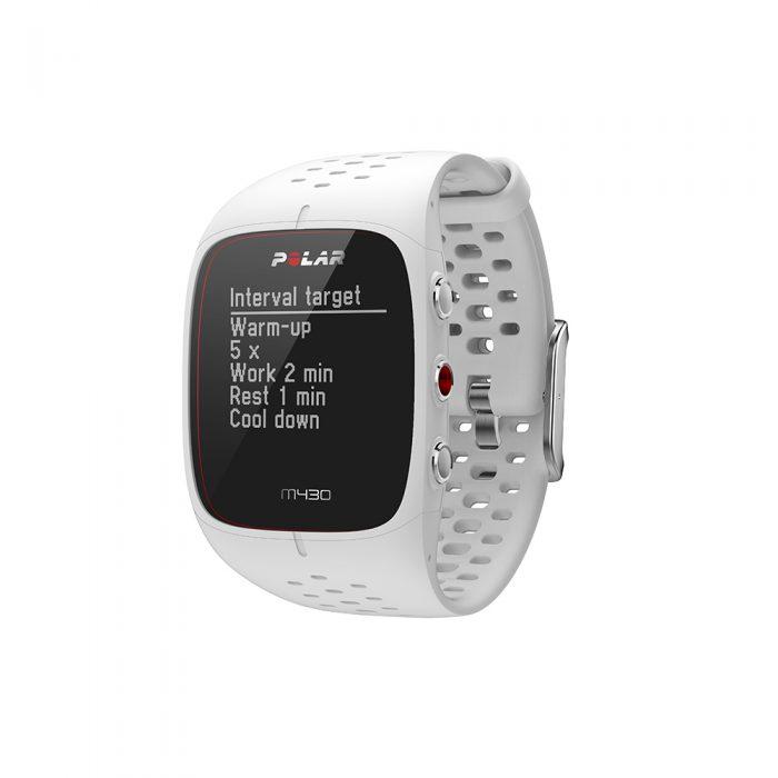 Montre GPS de course à pied avec capteur de rythme cardiaque Polar M430 blanc