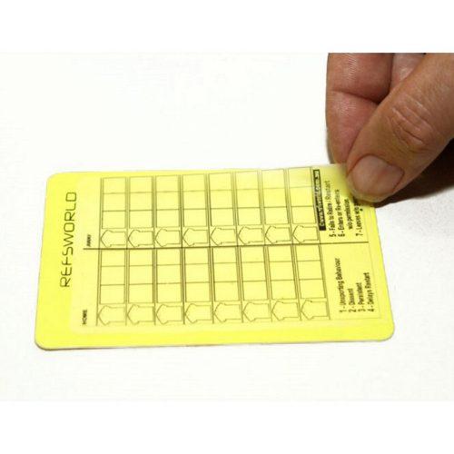 """Couverture de plastique """"Card skin"""" pour noter sur un carton d'arbitre de soccer"""